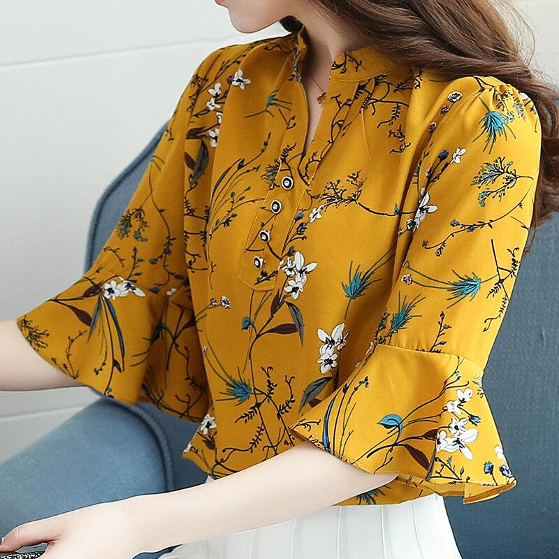 LOOESN ชีฟองเสื้ออารมณ์หลาใหญ่แขนสั้นเกาหลี Suihua เสื้อ (สีเหลือง)