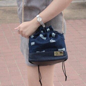 อยากขาย Louis Montini (Bags from the Star) กระเป๋าผ้ายีนส์ ผู้หญิงทรงกระปุ๊กลุ๊ก กระเป๋าะพายข้าง แฟชั่น WB04-01 - น้ำเงิน