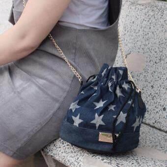รีวิว Louis Montini (Bags from the Star) กระเป๋าผ้ายีนส์ ผู้หญิงทรงกระปุ๊กลุ๊ก กระเป๋าะพายข้าง แฟชั่น WB04-03 - กรมท่า