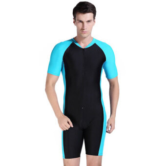 Lovers One-piece swimming suit Floatsuit Diving suit SURFING SUIT Wetsuit One-piece bathing suit Equipment Short sleeve Surf Wear (Black and Blue 2)