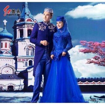 LWS Muslim Male Silks Satins Wedding Suit Jubahs Couple Wedding Dress (Color:Blue) One Size - intl