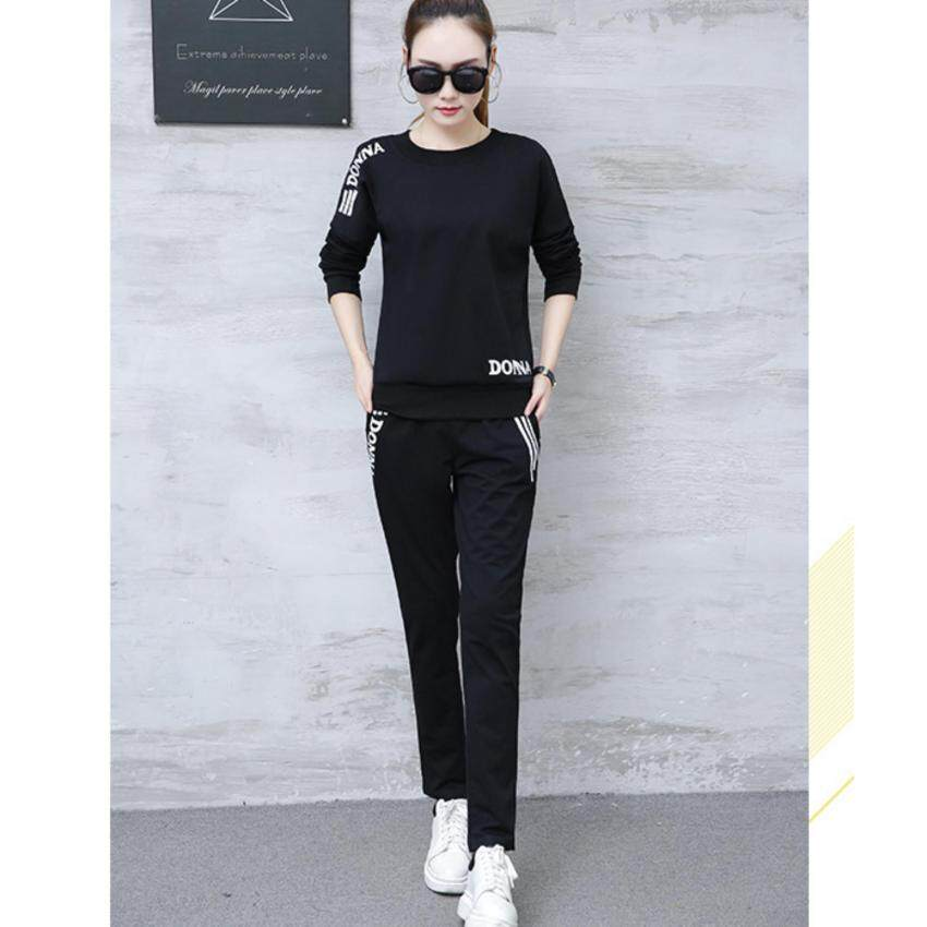 M fashion  เซตคู่ ชุดเสื้อแขนยาว+กางเกงขายาว (สีดำ) รุ่น 202