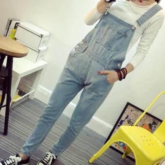 M fashionชุดเอี้ยมยีนส์ กางเกงยีนส์ ขายาว แฟชั่น (สียีนส์ซีด) รุ่น 9020
