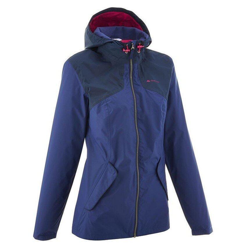 M SPort เสื้อแจ็คเก็ตเดินป่ากันฝนสำหรับผู้หญิงรุ่น ARPENAZ 100 (สีฟ้า/น้ำเงิน)