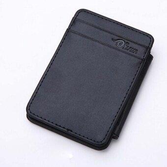 Man Mini Magic Bifold Leather Wallet Card Holder Wallet Purse BK - intl