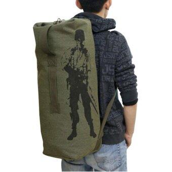 กระเป๋าสะพายผ้าแคนวาสหนา แบบสะพายไหล่ รุ่น CVM-016 (สีเขียวทหารใบใหญ่)