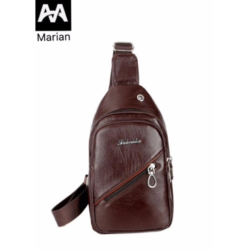 MARIAN กระเป๋า กระเป๋าสะพายข้างสีน้ำตาล กระเป๋าสะพายข้างสำหรับผู้ชาย NO.B011 - Brown