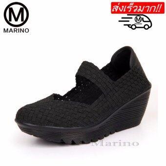 Marino รองเท้าส้นสูง รองเท้าแฟชั่นส้นเตารีด No.A008 - สีดำ