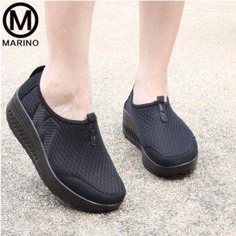Marino รองเท้าผ้าใบสีดำ รองเท้าเพิ่มความสูงสำหรับผู้หญิง No.A010 - Black (image 4)