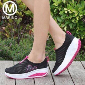 Marino รองเท้าผ้าใบ รองเท้าเพิ่มความสูงสำหรับผู้หญิง No.A010 - BlackPink (image 1)