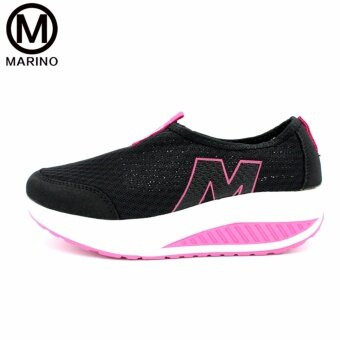Marino รองเท้าผ้าใบสีดำ รองเท้าเพิ่มความสูงสำหรับผู้หญิง No.A010 - Black/Pink (image 1)