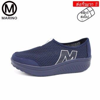 Marino รองเท้าผ้าใบสีน้ำเงิน รองเท้าเพิ่มความสูงสำหรับผู้หญิง No.A010 - Blue