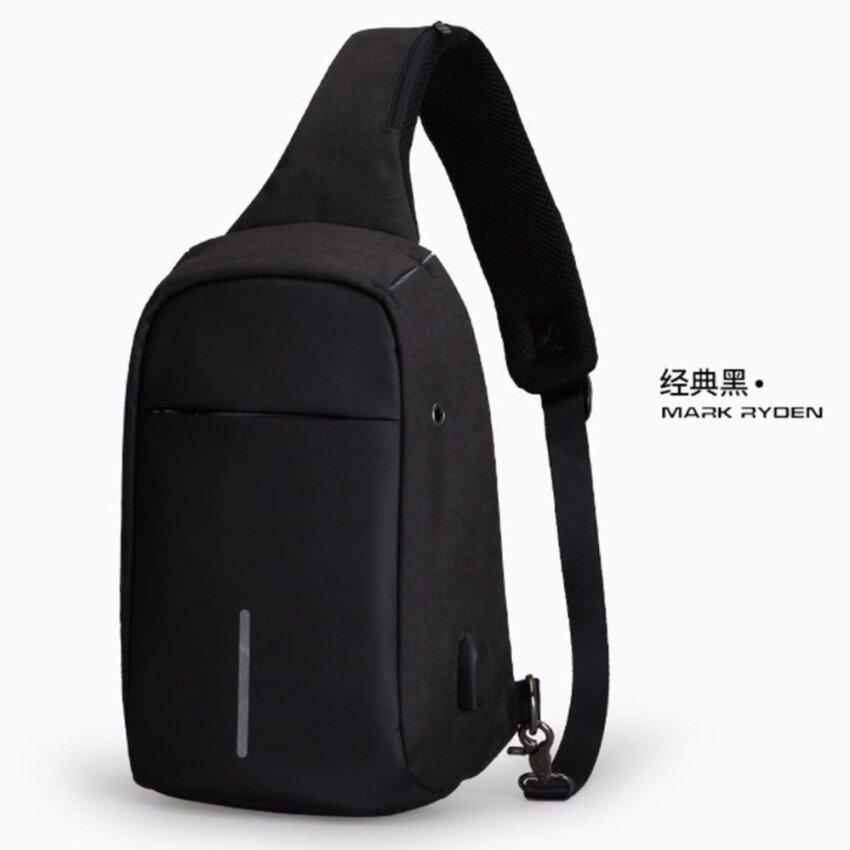 MARK RYDEN กระเป๋าคาดอก กันขโมย มีช่องเสียบ USB สีดำ