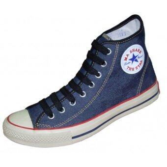 Mashare รองเท้าผ้าใบแฟชั้น มาแชร์หุ้มข้อ รุ่น 222 ริมแดงยีนส์กรม