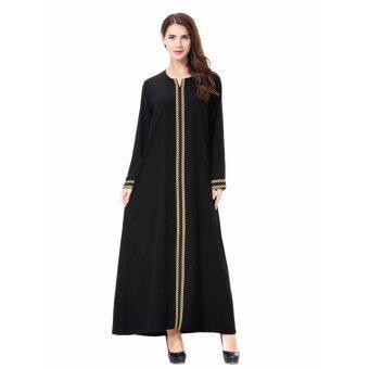 ผู้หญิงชาติพันธุ์บริสุทธิ์ชุดมุสลิมอิสลามแขนยาว Maxi อาหรับผ้าJilbab Abaya (สีส้ม)