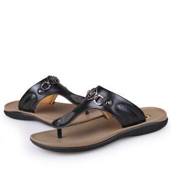 men fashion leather sandals beachs flip flops - intl