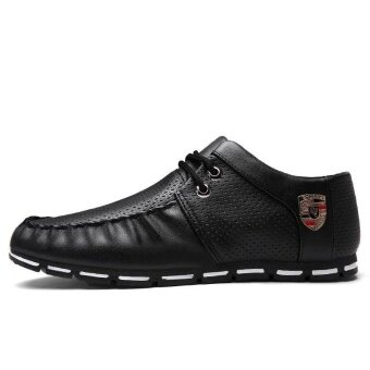 Men Formal Shoes British Style Casual Shoes Mesh Flat Shoes (Black)- intl - 2