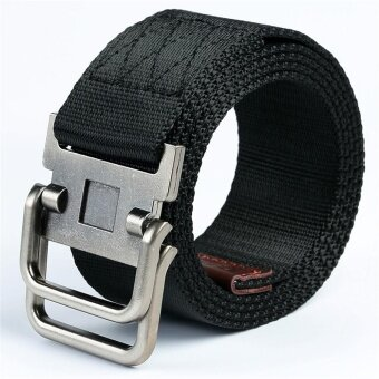 Men Military Tactical Nylon Belt Army Outdoor Canvas Strap 125cmLong (Black) - intl