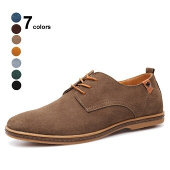 Men Oxford Classic Dress Suede Leather Casual Shoes Lace-up LoaferFlats Sneakers - intl