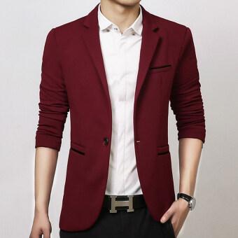 Men slim fit fashion cotton blazer Suit Jacket black blue khaki plus size M to 5XL Male blazers Mens coat Wedding dress(Red)
