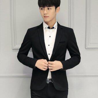 Men slim fit Plus Size Fashion Blazer Suit Casual Jacket Male Formal Business Blazers Coat(Black)