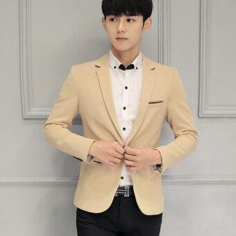 Men slim fit Plus Size Fashion Blazer Suit Casual Jacket Male Formal Business Blazers Coat(Khaki)