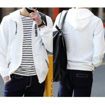 Men Sportwear Letter Print Thin Hoodie Zipper Jacket Hoodie Jacket\nBoys Hoodies Coat Men's Fashion Blazers  Jackets Camisola\nEstampada Spring and Summer - intl