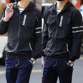 Men Sportwear Letter Print Thin Hoodie Zipper Jacket Hoodie Jacket\nBoys Hoodies Coat Men's Fashion Blazers  Jackets Camisola\nEstampada Spring and Summer - intl