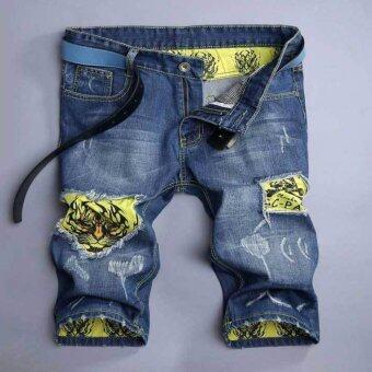 Men Summer Cotton Holes Washing Denim Shorts - intl