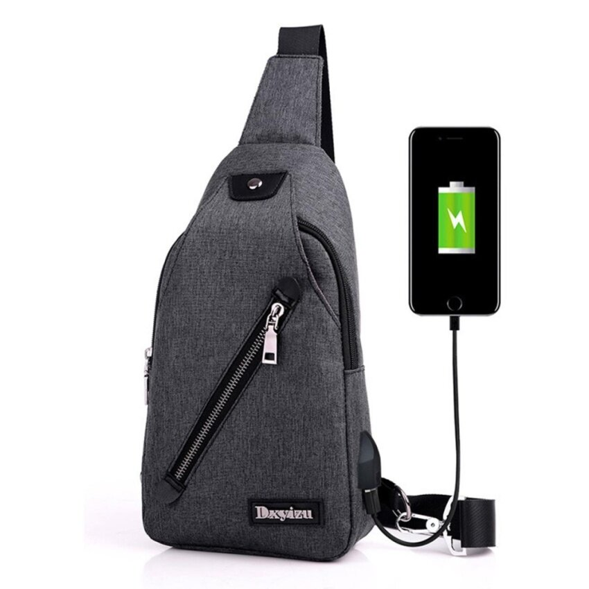 Men USB Charging Canvas Chest Backpack Travel Messenger Shoulder Sling Fanny Bag Black - intl