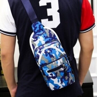 Men's men's chest pack Mens diagonal Korean tide bag sports leisure male youth vertical canvas camouflage - intl
