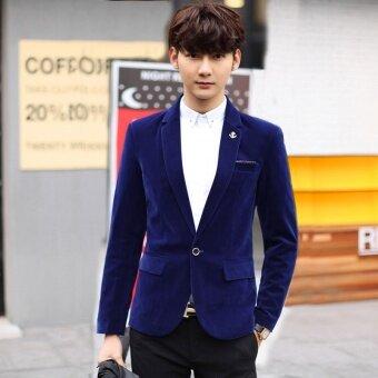 Mens blazer Wedding suit jacket velvet outwear coat Suits For Men - intl