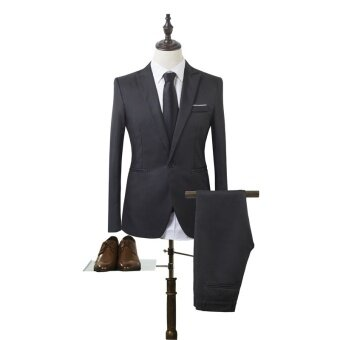 Mens Casual Business Suit Two Sets One Button Slim Fit Jacket Tuxedos Coat - intl