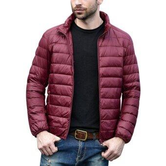 ผู้ชายลงเสื้อแจ็คเก็ตน้ำหนักเบา Packable PUFFER พร้อมกระเป๋าเดินทาง