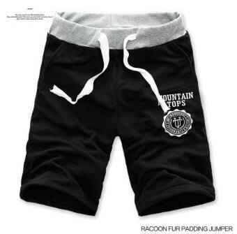แฟชั่นผู้ชายกางเกงขาสั้นกีฬา Cropped กางเกงชายหาด (สีดำ)
