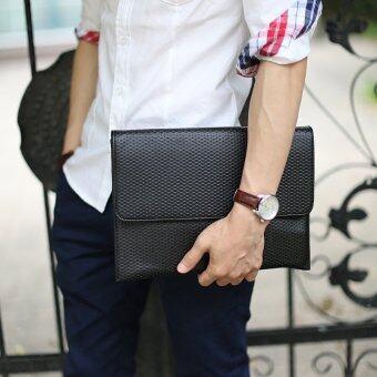 กระเป๋าถือขนาดยาวของผู้ชายมีซิปกระเป๋าสตางค์โทรศัพท์มือถือสามารถนำกระเป๋าคลัตช์แพคเกจ (สีดำ)