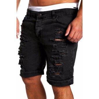 Mens Jeans Slim Fit Straight Skinny Denim Trousers Casual Shorts Pants Black - intl