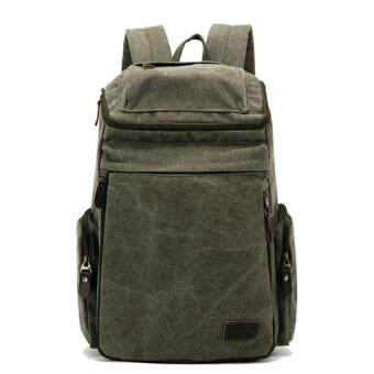 Mens Large Vintage Canvas Backpack School Laptop Bag Hiking Travel Rucksack Olive""