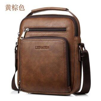 Men's Leather Casual Messenger bag shoulder bag large-capacity multi-purpose Yellow Brown - intl