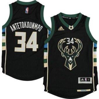 ผู้ชาย NBA Milwaukee Bucks #34 Giannis Antetokounmpo Alternate บาสเกตบอลเจอร์ซีย์ (สีดำ)