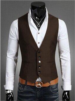 Mens slim suit vest vest men color male casual jacket vest jacket - intl
