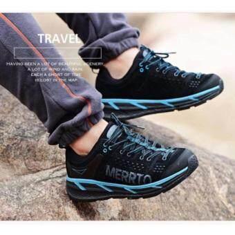 ราคา Merrto รุ่น 8619 รองเท้าผ้าใบ ผู้ชาย แนวสตรีท ทำจากหนังแท้คุณภาพดี สำหรับกิจกรรม เดินป่า ปีนเขา เดินทาง (สีดำ/ฟ้า)