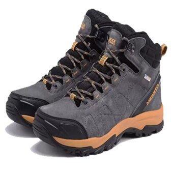 Merrto รองเท้าหนังแท้เกรดพรีเมี่ยม กันน้ำ หุ้มข้อ รุ่น 8628 (สีเทา)