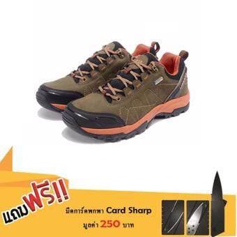 Merrto รองเท้าหนังแท้เกรดพรีเมี่ยม ข้อสั้น กันน้ำ สำหรับเดินป่า รุ่น 8632 (สีน้ำตาล) แถมฟรีมีดการ์ดพกพา card sharp มูลค่า 250 บาท