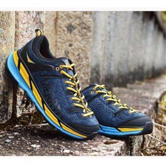Merrto รองเท้าหนังแท้เกรดพรีเมี่ยม รองเท้าปีนเขา เดินป่า ผู้ชาย น้ำหนักเบา รุ่น 8619 (สีน้ำเงินแถบเหลือง)