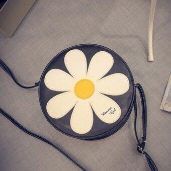 เกาหลีดอกเบญจมาศขนาดเล็กไหล่กระเป๋า Messenger กระเป๋าถือ (สีดำ)