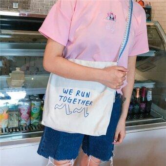 ฮาราจูกุหญิง messenger ถุงผ้าใบแพ็คเก็ต (สีฟ้าตัวอักษรมีถุงภายในมีปุ่ม)