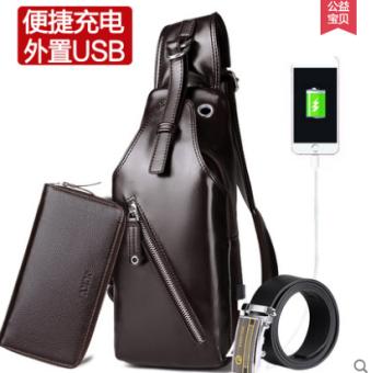 แนวโน้มชายของ Messenger แพ็คกระเป๋าหน้าอก (USB เทคโนโลยีสีน้ำตาลกระเป๋าถือสามชิ้น)