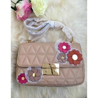 กระเป๋าสะพาย MK Sloan หนังสีครีมโซ่ทอง Michael KorsLamb Leather Sloan Large Floral Appliqu Shoulder Bag 30S7GFLL3L
