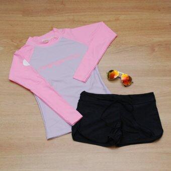 Minerva Rash Guard ชุดว่ายน้ำ แขนยาว (สีม่วงแขนสีชมพู) และ กางเกงขาสั้น (สีดำ)